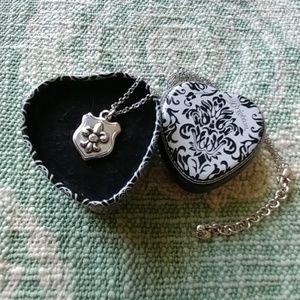 Brighton chivalry silver shield necklace